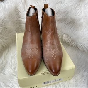 ROAN Aggie leather tan washed leather booties 10